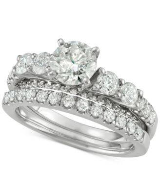 diamond bridal set 2 ct tw in 14k white gold