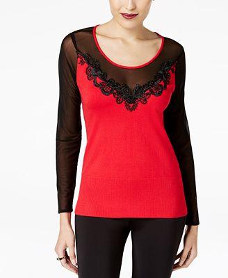 Thalia Sodi Illusion Mesh Sweater, Created for Macy's
