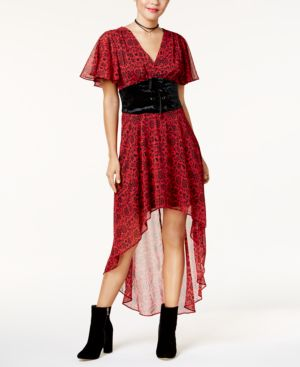 Disney Princess Snow White Juniors' Velvet Corset Printed Dress, Created For Macy's 5003029