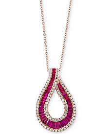 Amoré by EFFY®Certified Ruby (1-1/10 ct. t.w.) & Diamond (3/8 ct. t.w.) Teardrop Pendant Necklace in 14k Rose Gold