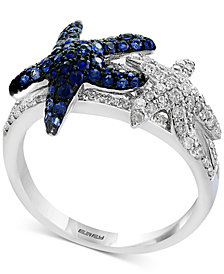Seaside by EFFY® Sapphire (1/2 ct. t.w.) & Diamond (3/8 ct. t.w.) Starfish Ring in 14k White Gold