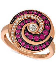 Le Vian Extraterrestrials® Passion Ruby™ (1/2 ct. t.w.) & Diamond (1/5 ct. t.w.) Spiral Ring in 14k Rose Gold