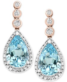 Aquarius by EFFY® Aquamarine (3-3/8 ct. t.w.) & Diamond (1/3 ct. t.w.) Drop Earrings in 14k Rose & White Gold