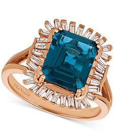 Le Vian® Deep Sea Blue Topaz™ (3-1/3 ct. t.w.) & Diamond (1/3 c.t. t.w.) Ring in 14k Rose Gold