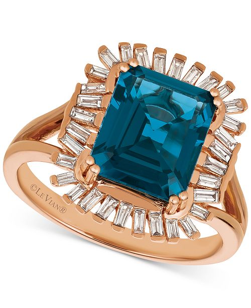 Le Vian Deep Sea Blue Topaz™ (3-1/3 ct. t.w.) & Diamond (1/3 c.t. t.w.) Ring in 14k Rose Gold (Also available in Amethyst, Pomegranate Garnet™, Cinnamon Citrine® & Chocolate® Quartz)