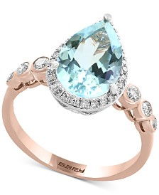 Aquarius by EFFY® Aquamarine (2-1/2 ct. t.w.) & Diamond (1/4 ct. t.w.) Ring in 14k Rose & White Gold