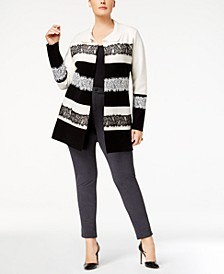 Plus Size Colorblocked Lace-Trim Cardigan