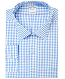 Brooks Brothers Men's Extra-Slim Fit Non-Iron Blue Gingham Dress Shirt