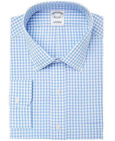 Brooks Brothers Men's Extra-Slim Fit Non-Iron Blue Gingham Dress Shirt