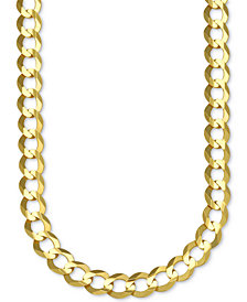 "30"" Open Curb Link Chain Necklace in Solid 10k Gold"