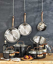 Onyx Black & Rose Gold 12-Pc Stainless Steel Cookware Set, Created for Macy's