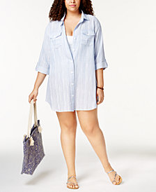 Dotti Plus Size Cotton Striped Chambray Shirtdress Cover-Up