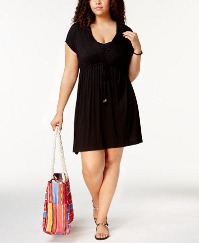 Dotti Plus Size Sunset Brights Hoodie Dress Cover Up Swimwear