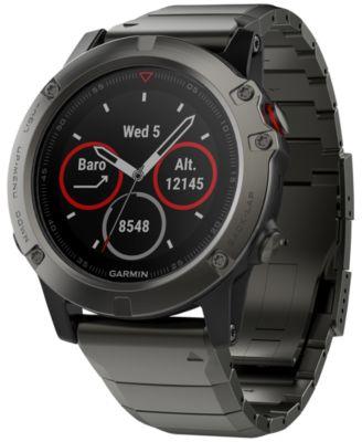 Unisex fenix® 5X Slate Gray Metal Bracelet Smart Watch 51mm