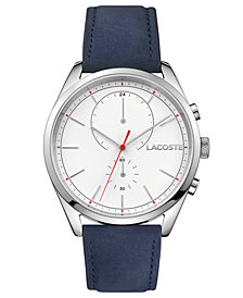 Lacoste Men's Chronograph San Diego Navy Blue Leather Strap Watch 44mm