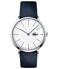 Men's Moon Ultra Slim Navy Blue Nylon Strap Watch 40mm
