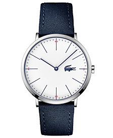 Lacoste Men's Moon Ultra Slim Navy Blue Nylon Strap Watch 40mm