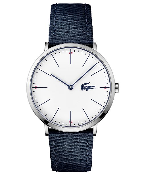 60a4170a7 Lacoste Men's Moon Ultra Slim Navy Blue Nylon Strap Watch 40mm ...
