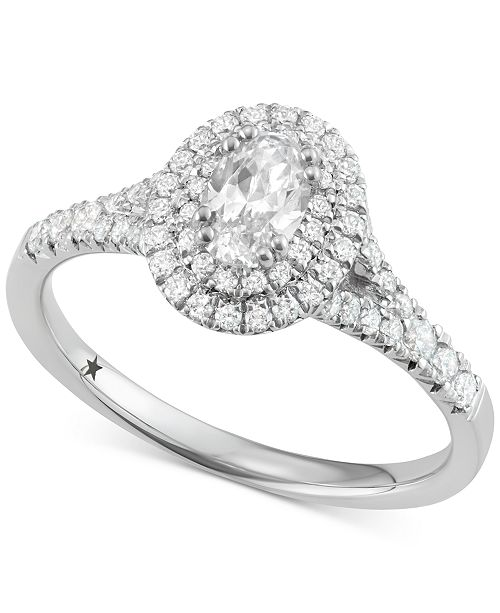 Macy's Star Signature Diamond Oval Cut Halo Engagement Ring (1 ct. t.w.) in 14k White or Yellow Gold