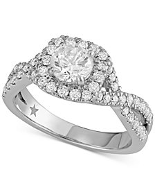 Macy's Star Signature Diamond™ Halo Engagement Ring (1-3/8 ct. t.w.) in 14k White Gold