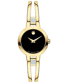 Women's Swiss Amorosa Diamond-Accent Gold-Tone PVD Stainless Steel Bangle Bracelet Watch 24mm
