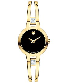 Movado Women's Swiss Amorosa Diamond-Accent Gold-Tone PVD Stainless Steel Bangle Bracelet Watch 24mm