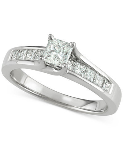 Diamond Princess Engagement Ring (1 ct. t.w.) in 14k White Gold