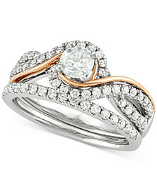 Diamond Two-Tone Overlap Bridal Set (7/8 ct. t.w.) in 14k White and Rose Gold