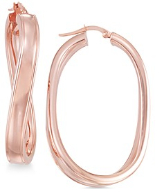 Twisted Oval Hoop Earrings in 14k Rose Gold