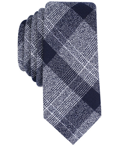 Bar III Men's Tammenga Plaid Skinny Tie, Created for Macy's