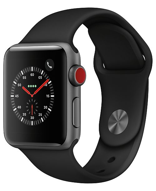 Apple Watch Series 3 (GPS + Cellular),  38mm Space Gray Aluminum Case with Black Sport Band