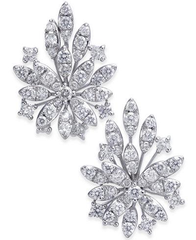 Diamond Cluster Flower Stud Earrings (1-3/4 ct. t.w.) in 14k White Gold