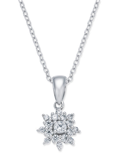 Diamond Cluster Pendant Necklace (3/8 ct. t.w.) in 14k White Gold