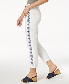 Style & Co Embroidered Slim Boyfriend Jeans, Created for Macy's