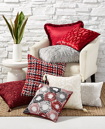CLOSEOUT! Hallmart Collectibles Red Decorative Pillow Collection - Decorative & Throw Pillows ...