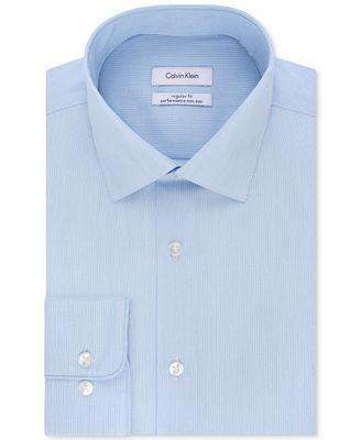 Calvin Klein Men's Classic/Regular Fit Non-Iron Performance Blue Stripe Dress Shirt