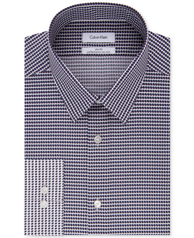 Calvin Klein STEEL Men's Slim-Fit Non-Iron Performance Stretch Blue Multi Print Dress Shirt