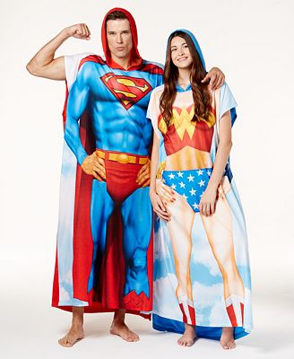 Briefly Stated Superman & Wonder Woman Poncho Set