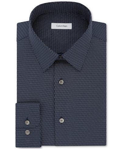 Calvin Klein Men's Classic/Regular Fit Non-Iron Performance Navy Print Dress Shirt