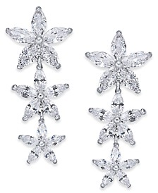 Joan Boyce Silver-Tone Crystal Flower Linear Drop Earrings