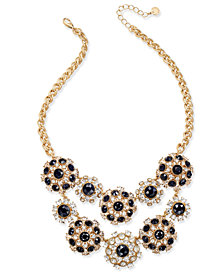 Charter Club Gold-Tone Clear & Jet Crystal Statement Necklace, Created for Macy's