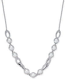 Danori Silver-Tone Imitation Pearl & Pavé Statement Necklace, Created for Macy's