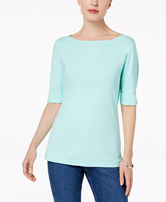 Cotton Elbow Sleeve Top, Created For Macy's by Karen Scott