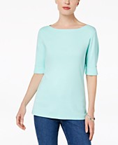 3d3e8d754e436 Karen Scott Cotton Elbow-Sleeve Top