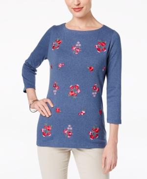 Karen Scott Cotton Embroidered...