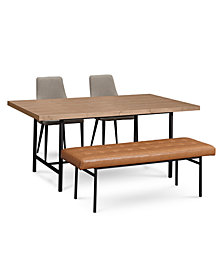 CLOSEOUT! Selena Dining Furniture, 4-Pc. Set (Dining Table, 2 Side Chairs & Bench), Created for Macy's