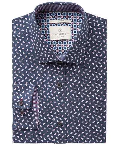 Con.Struct Men's Slim-Fit Stretch Navy Boteh Pattern Dress Shirt, Created for Macy's