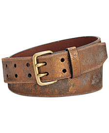 Calvin Klein Distressed Metallic Eyelet Leather Belt