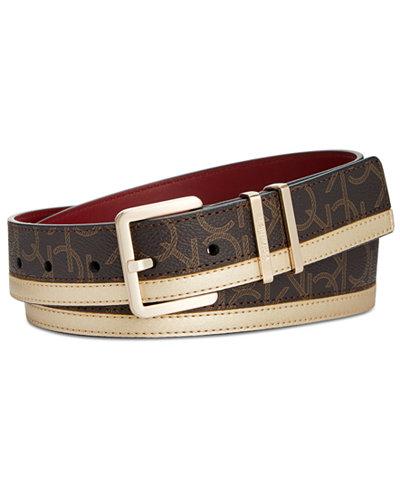 Calvin Klein CK Signature & Metallic Skinny Belt