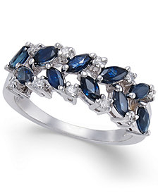 Sapphire (1-1/3 ct. t.w.) & Diamond (1/6 ct. t.w.) Ring in 14k White Gold